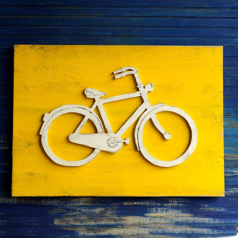 Bicycle Art Wooden Bike Sign Large Bicycle Wall Art Bike Wall Regarding Large Yellow Wall Art (Image 3 of 20)