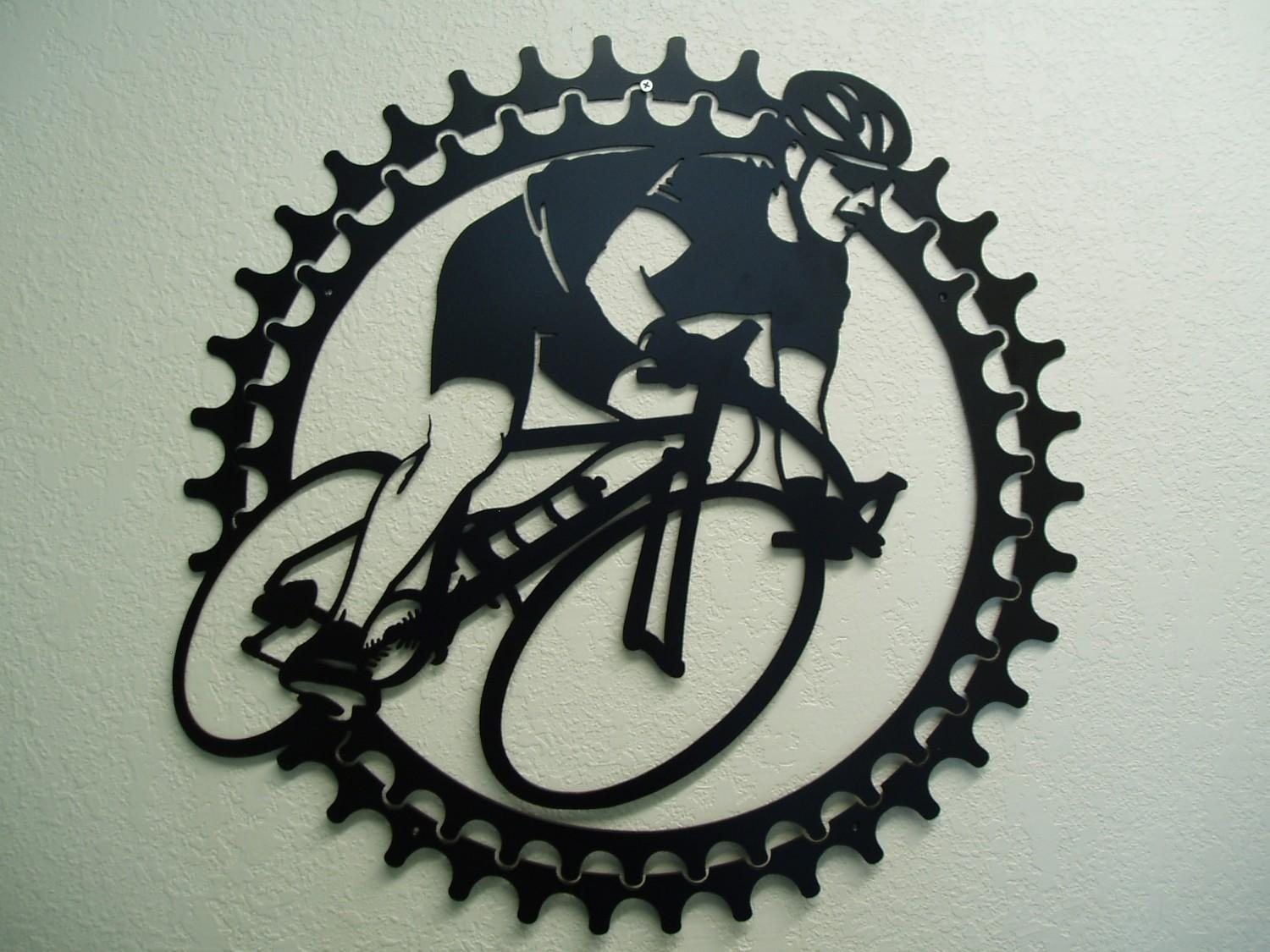 Bicycle Rider Metal Wall Art With Metal Bicycle Art (Image 2 of 20)