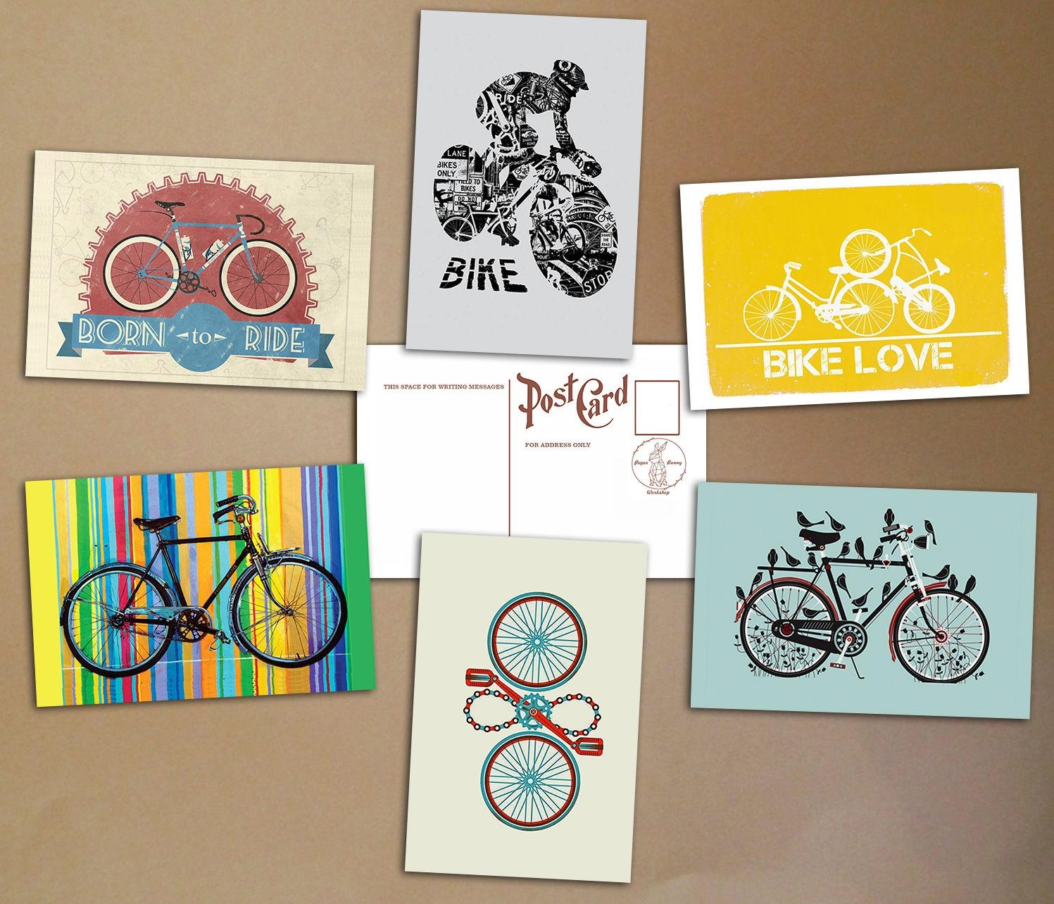 Bicycle Set Of 6 Postcards Art Print Bike Poster Vintage Cycling Inside Cycling Wall Art (Image 5 of 20)
