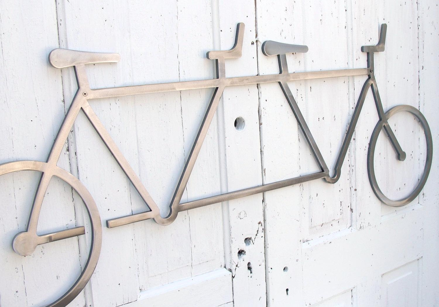 Bicycle Wall Art Decor Tandem Bike Wall Hanging Bike Decor In Metal Bicycle Art (View 10 of 20)