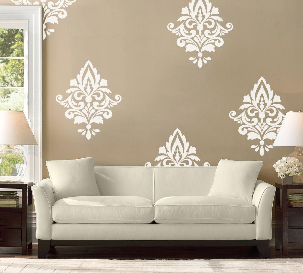 Big Damask Wall Decal Home Decor Damask Pattern Living Inside Black And White Damask Wall Art (Image 2 of 20)