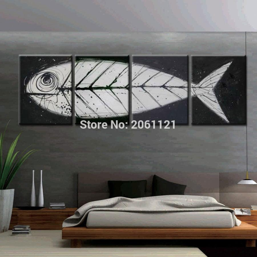 Big Gray Black Pop Art Modern Wall Art Fish Bone Canvas Painting Regarding Fish Bone Wall Art (View 5 of 20)