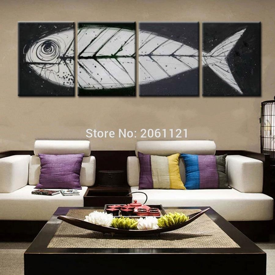 Big Gray Black Pop Art Modern Wall Art Fish Bone Canvas Painting With Regard To Fish Bone Wall Art (View 8 of 20)
