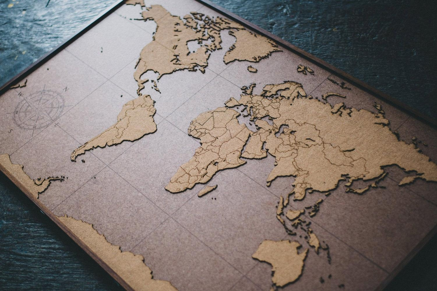 Big Lasercut And Handmade Cork World Map Wall Art With Wood For World Map Wood Wall Art (Image 3 of 20)