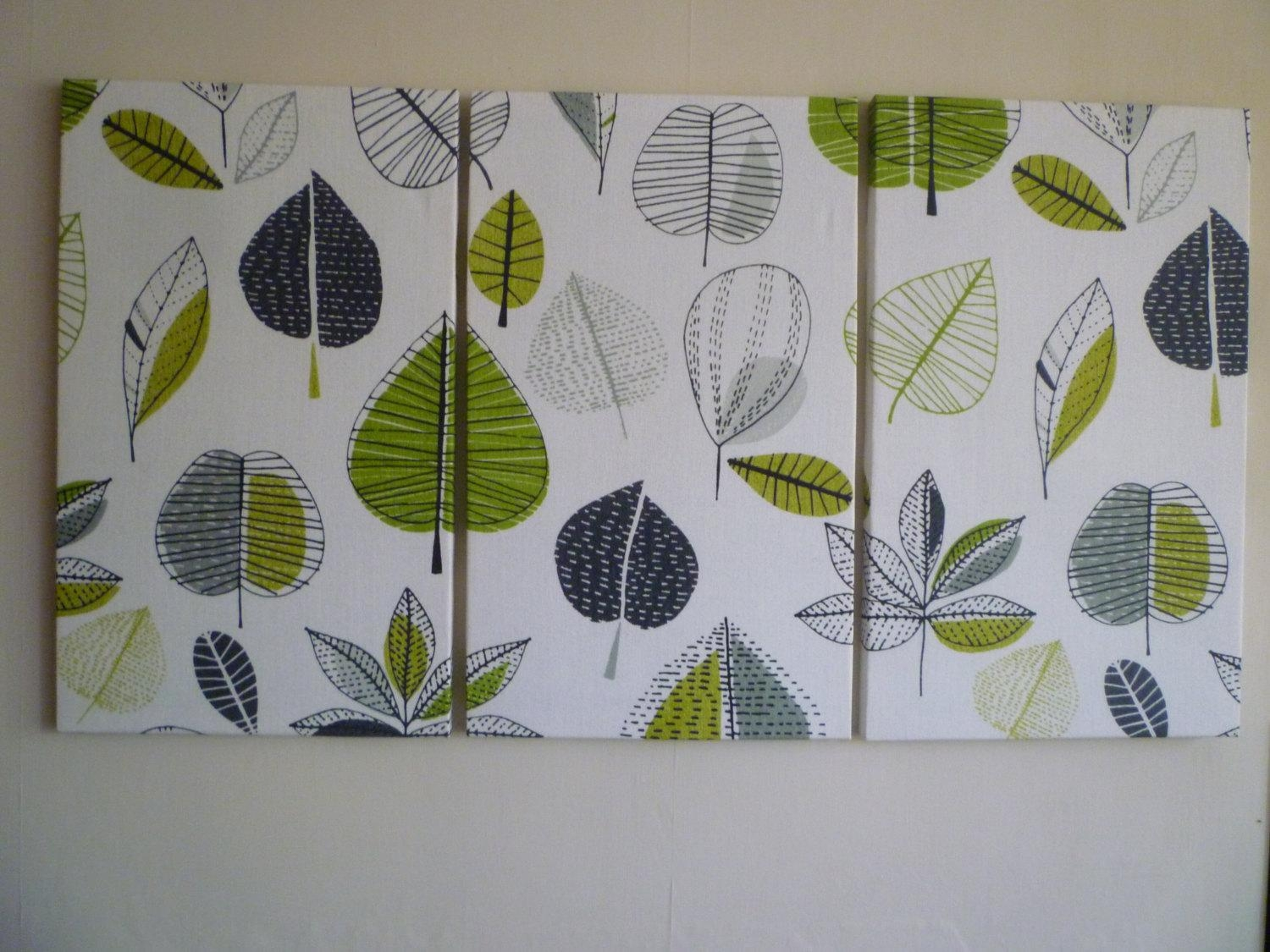 Big Lime Green Fabric Wall Art Funky Retro Designer Cotton In Fabric Canvas Wall Art (View 5 of 20)