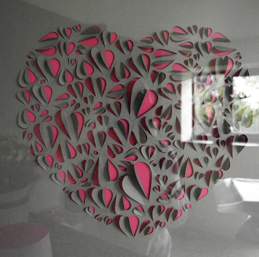 Big Love Heart Hand Crafted Wall Artillustries For Love Wall Art (Image 4 of 20)