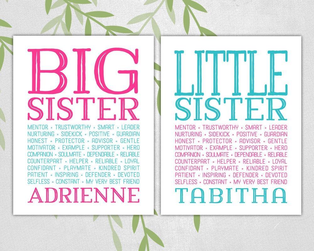 Big Sister Little Sister Wall Art Print Subway Art Pink With Playroom Wall Art (Image 8 of 20)