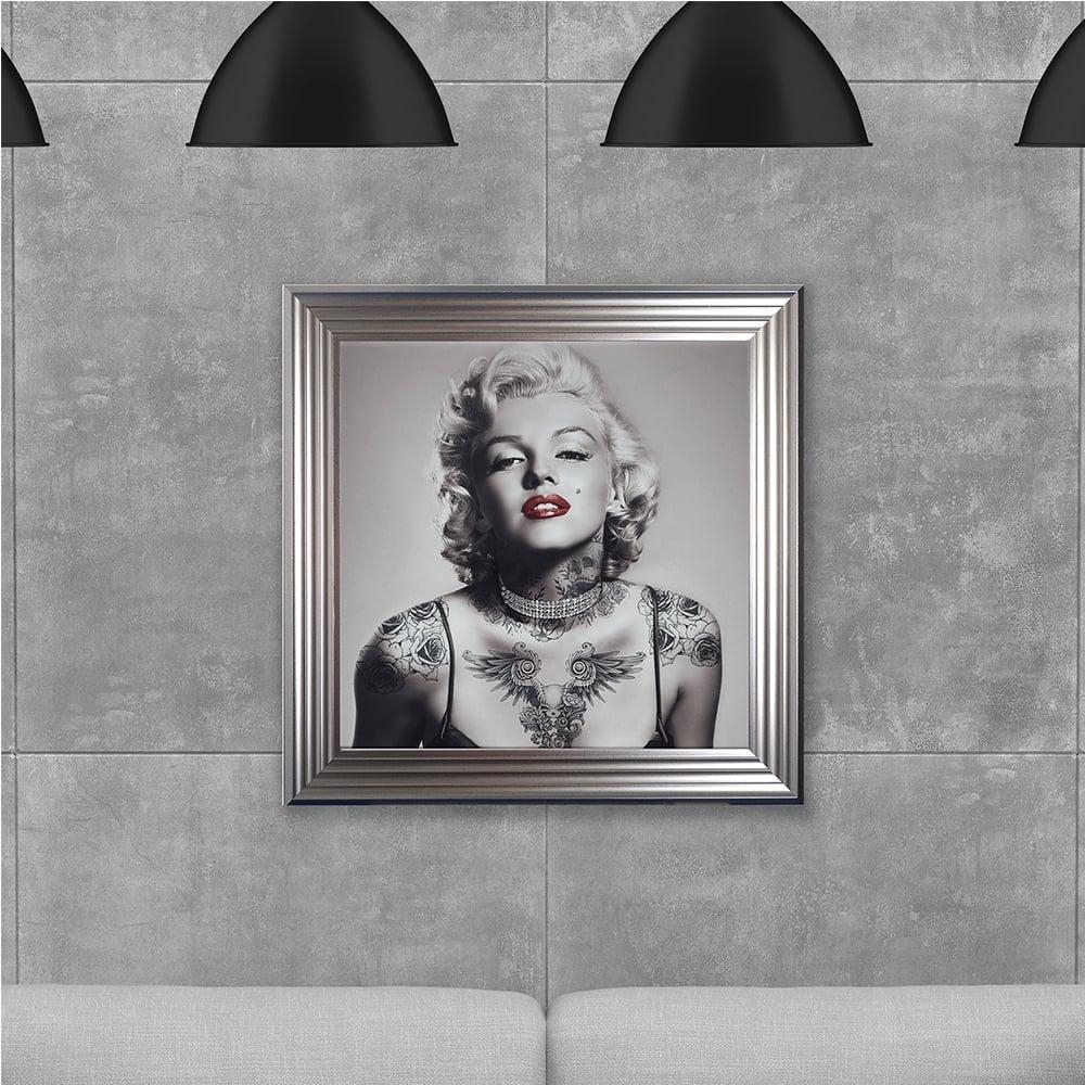 Biggon Marilyn Monroe With Tattoos Made With Liquid Glass And Intended For Marilyn Monroe Framed Wall Art (View 7 of 20)