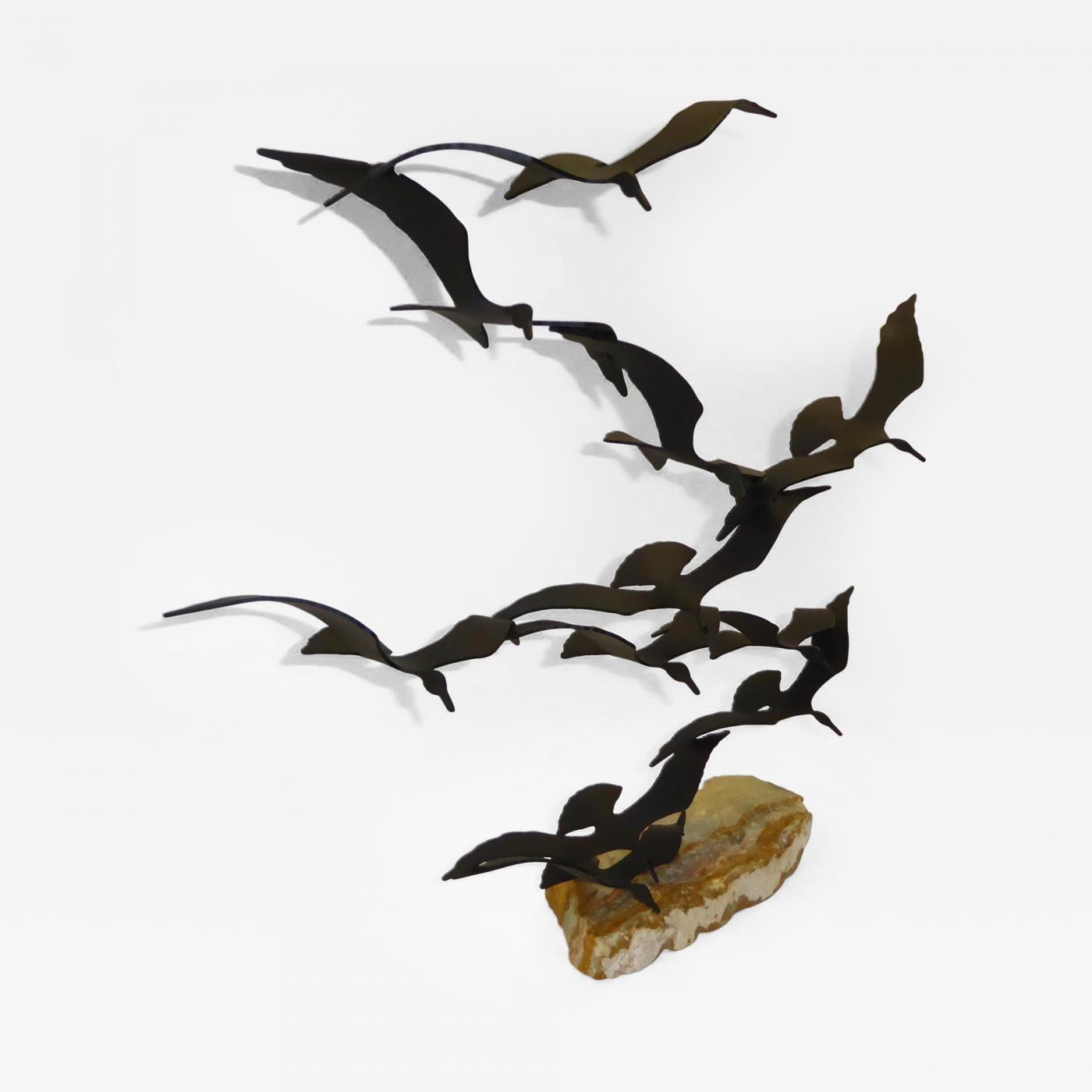 Bijan – Flock Of Seagulls Metal Sculpturebijan, 1970's California In Metal Wall Art Flock Of Seagulls (View 20 of 20)