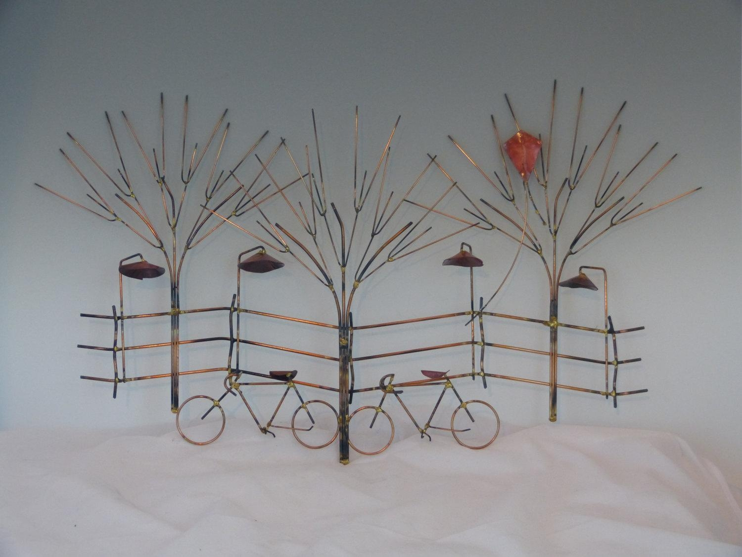 Bikes And Trees Metal Sculpture:bike Wall Decormetal Within Bicycle Wall Art Decor (Image 8 of 20)