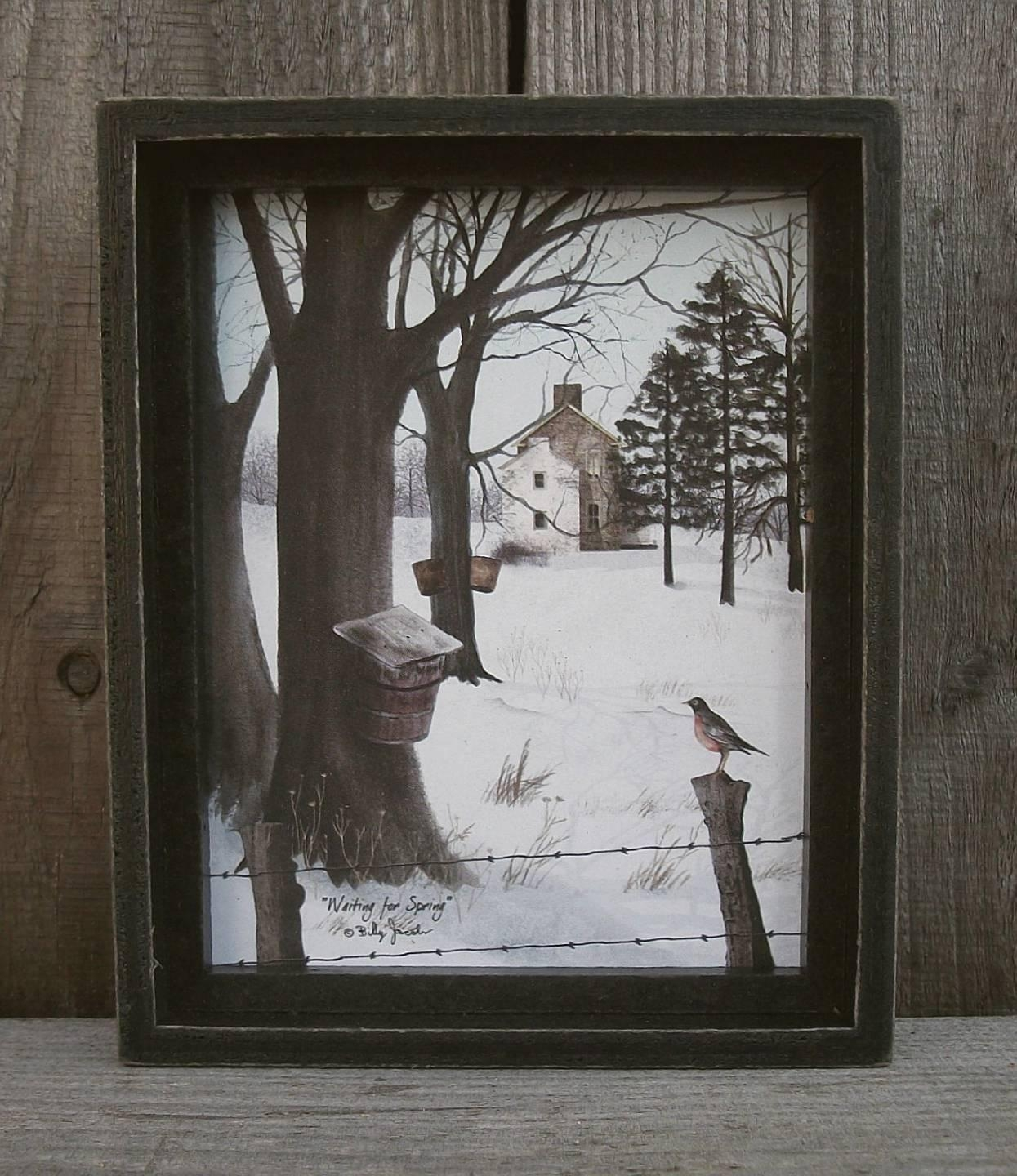 Billy Jacobs Mini Rustic Framed Picture/shelf Sitter Primitive In Billy Jacobs Framed Wall Art Prints (View 17 of 20)