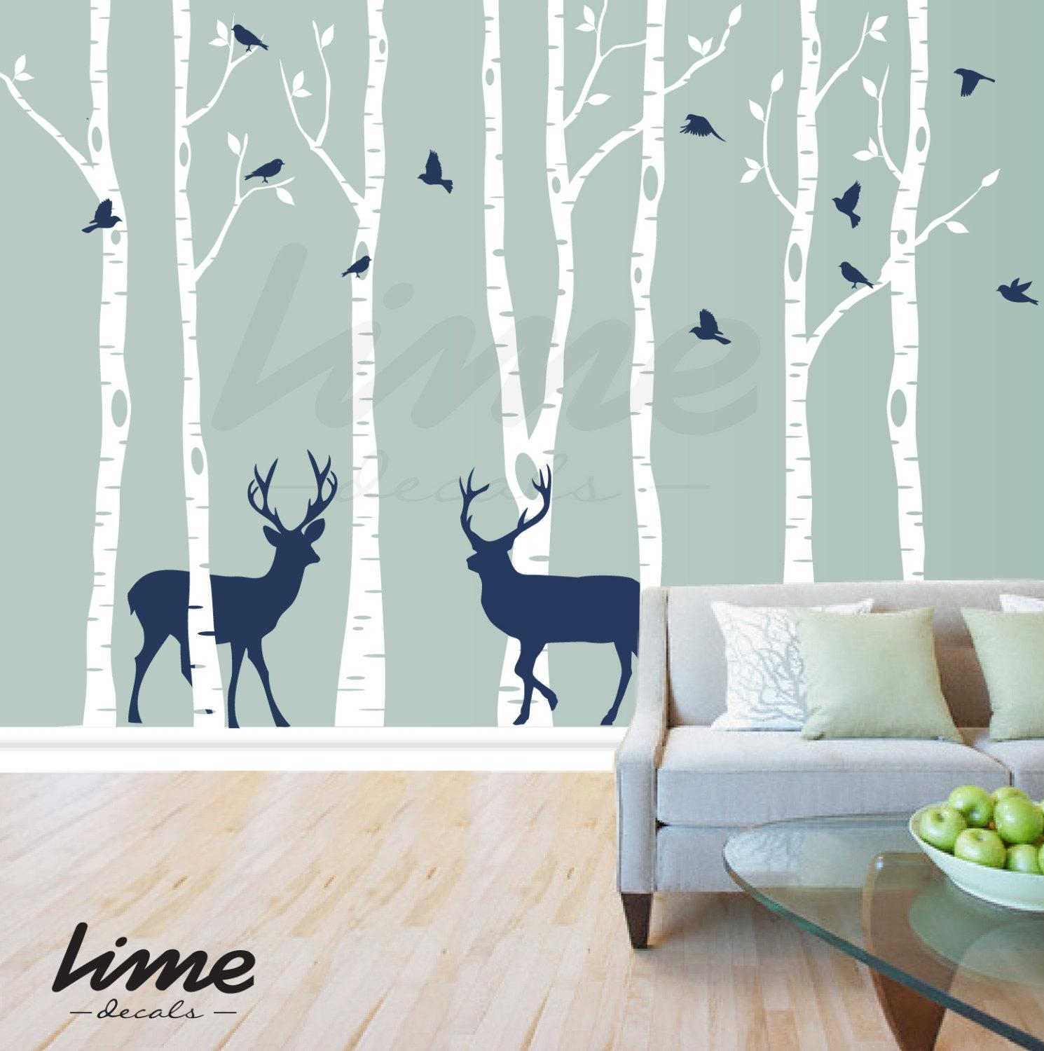 Birch Tree Deer Wall Pictures Of Photo Albums Birch Tree Wall Pertaining To Wall Art Deco Decals (Image 1 of 20)