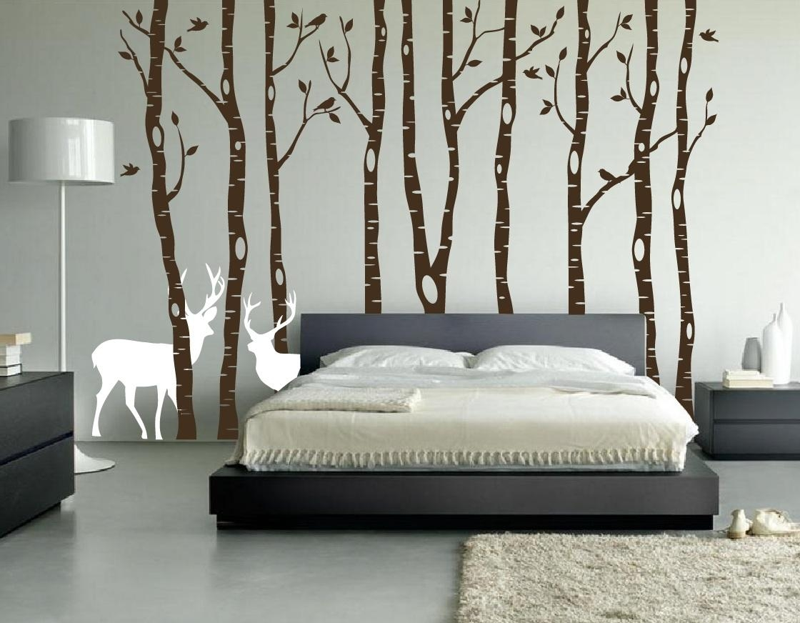 Birch Tree Winter Forest Set Vinyl Wall Decal #1161 Inside Vinyl Wall Art Tree (Image 3 of 20)