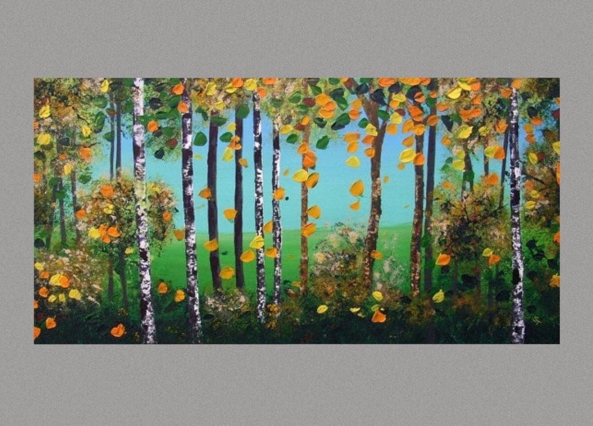 Birch Trees Painting Sale Autumn Aspen Trees Wall Art Ready To Inside Aspen Tree Wall Art (Image 5 of 20)
