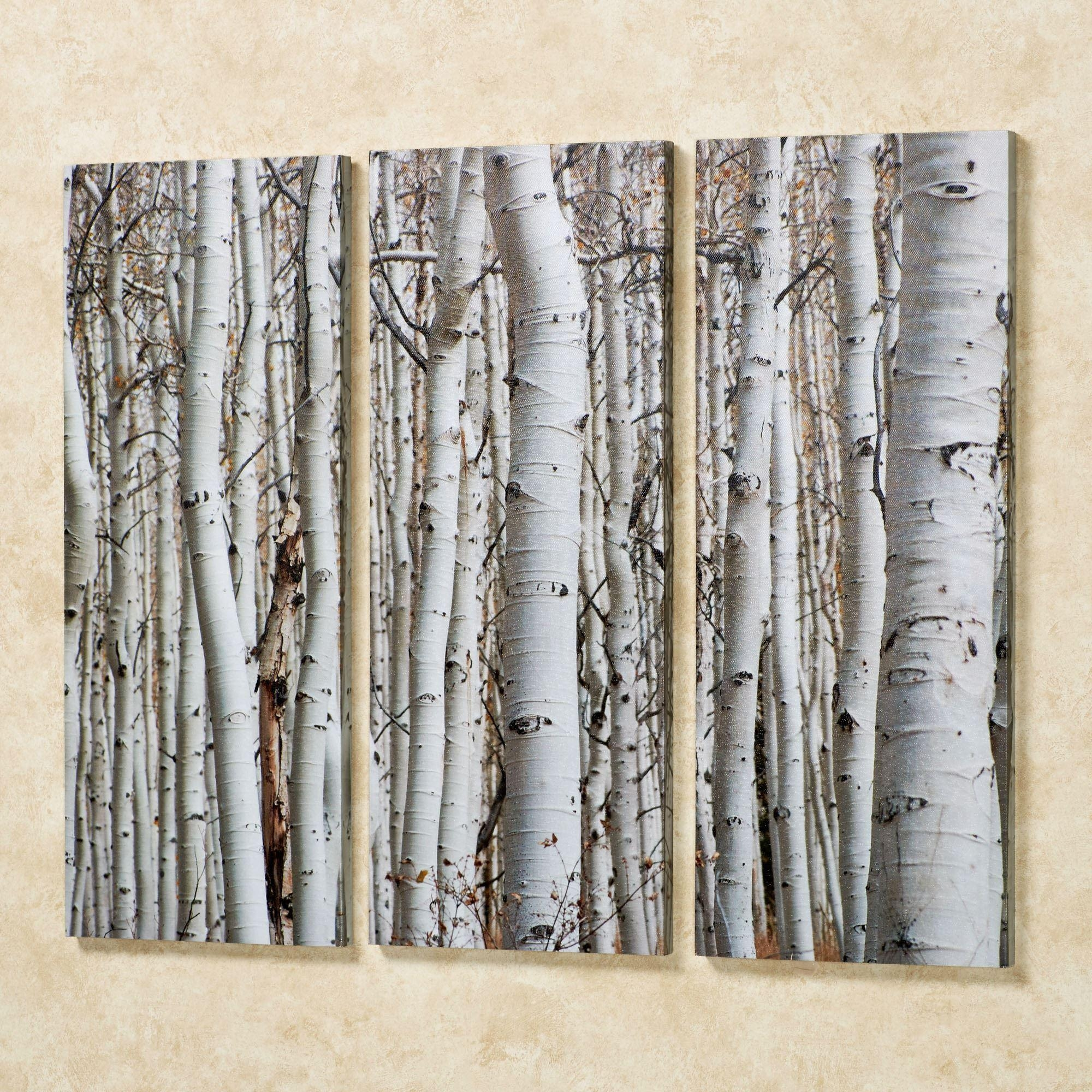 Birch Trees Triptych Canvas Wall Art Set With Regard To White Wooden Wall Art (Image 7 of 20)