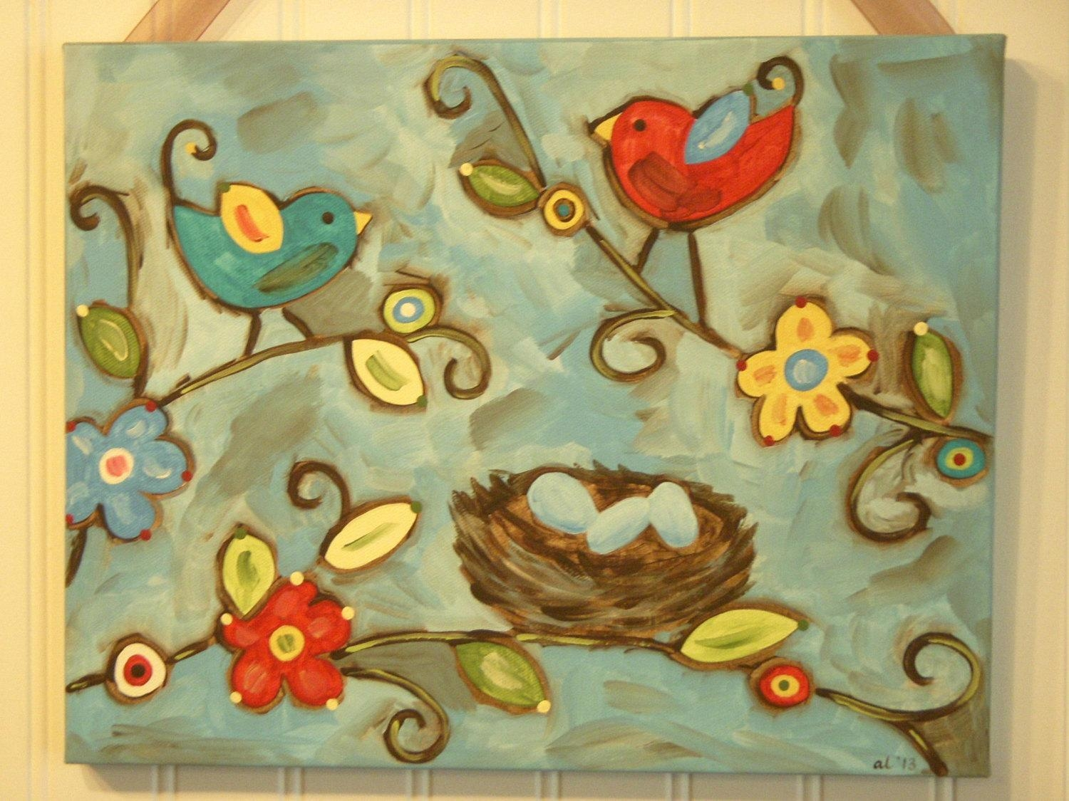 Bird Nest Painting Canvas Primitive Folk Art 11 X 14 Original Within Primitive Wall Art (Image 8 of 20)