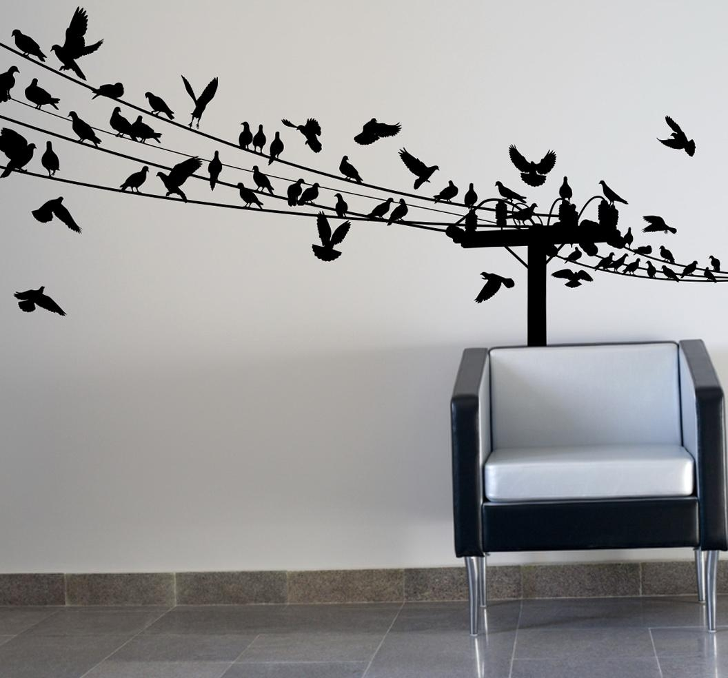 Birds On Wire Wall Art Optimize Every Inch Of Interior With Intended For Flock Of Birds Wall Art (Image 3 of 20)