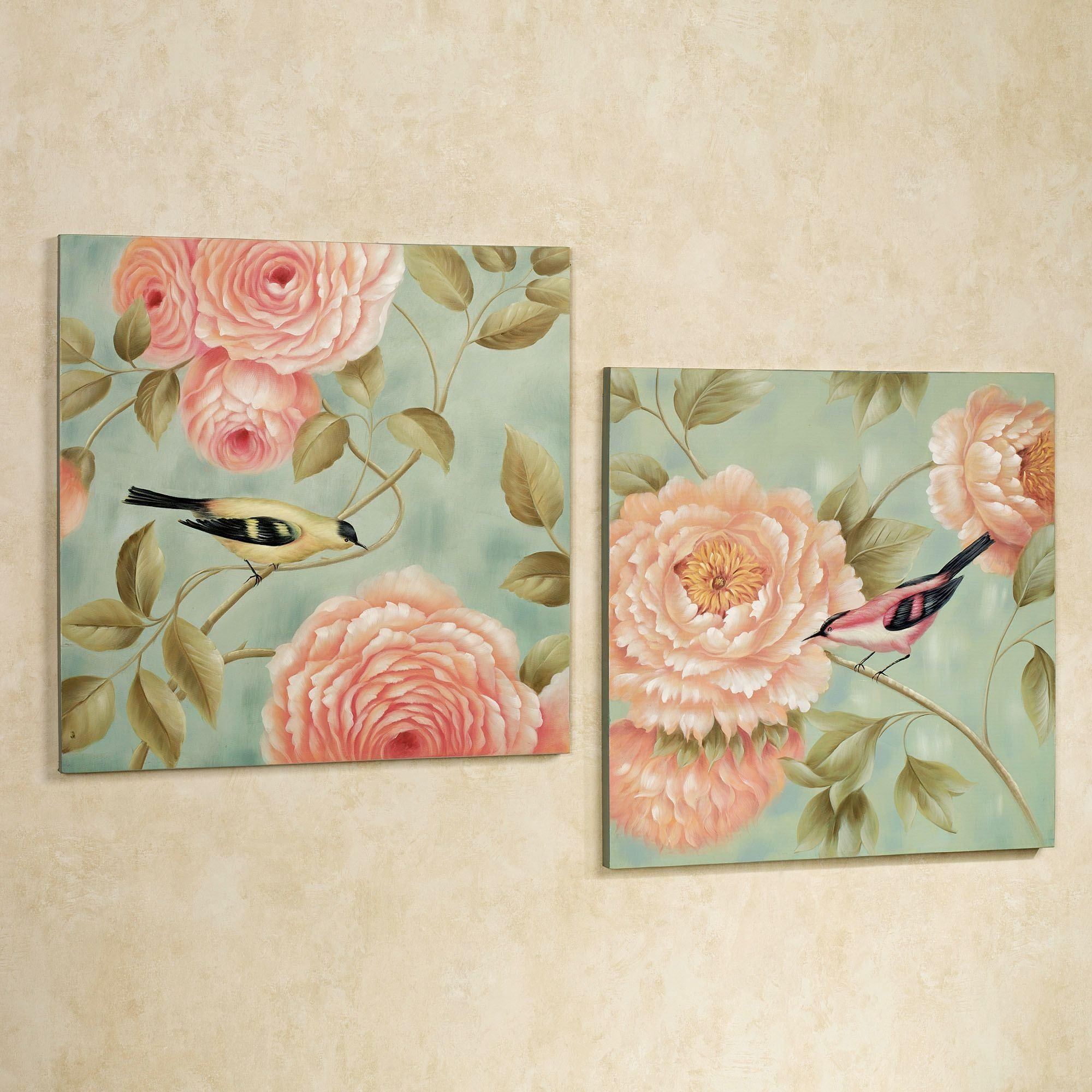 Birds Perchedflowers Canvas Wall Art Set With Rose Canvas Wall Art (Image 5 of 20)