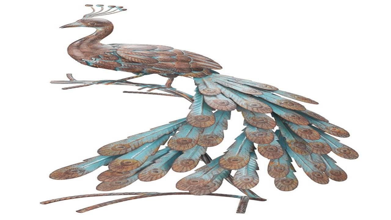 Bits And Pieces Solar Peacock Metal Sculpture Very Beautiful Regarding Peacock Metal Wall Art (Image 4 of 20)