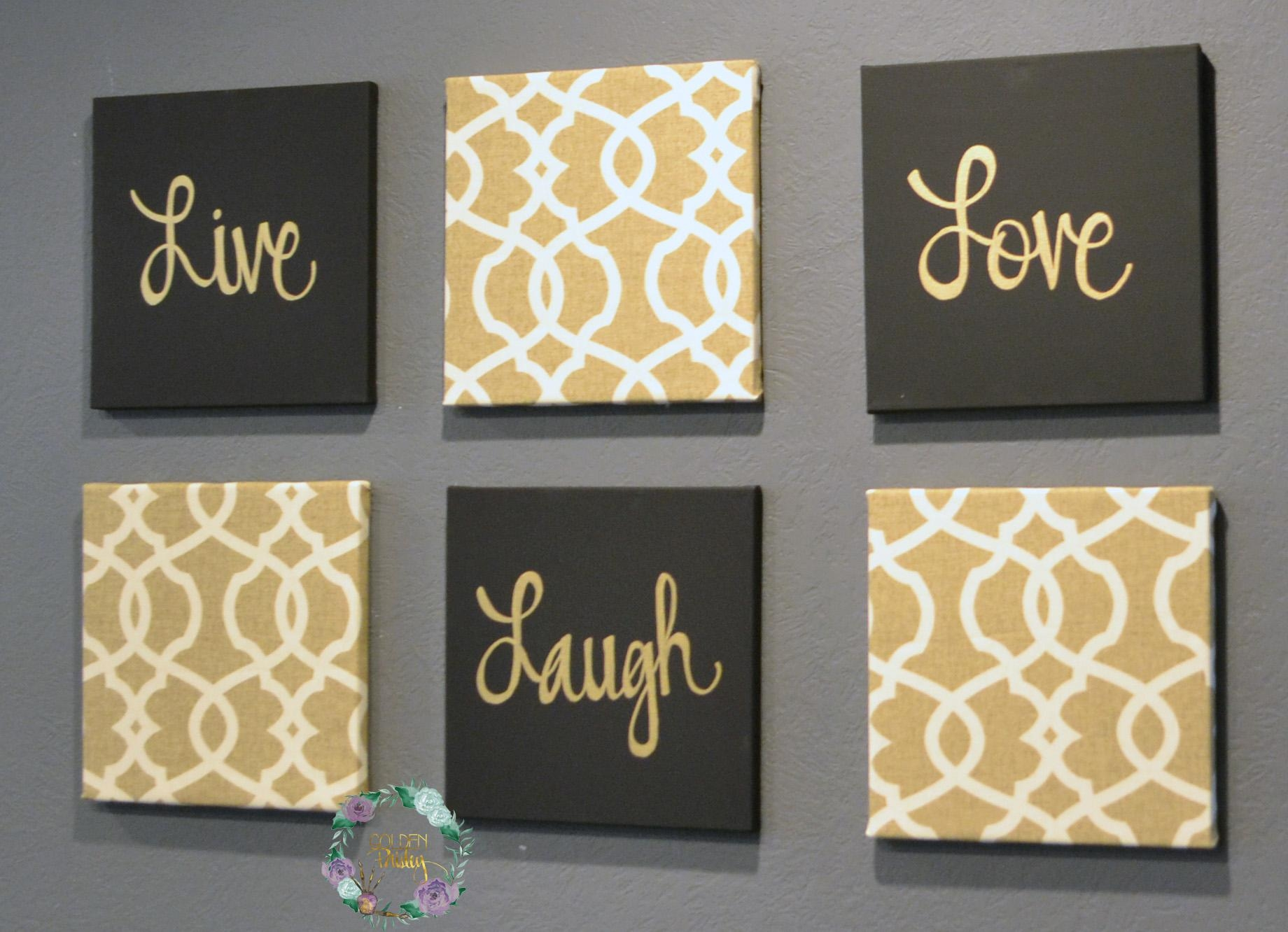 Black And Gold Eat Drink Be Merry Chic Wall Art Set Within Black Love Wall Art (View 20 of 20)