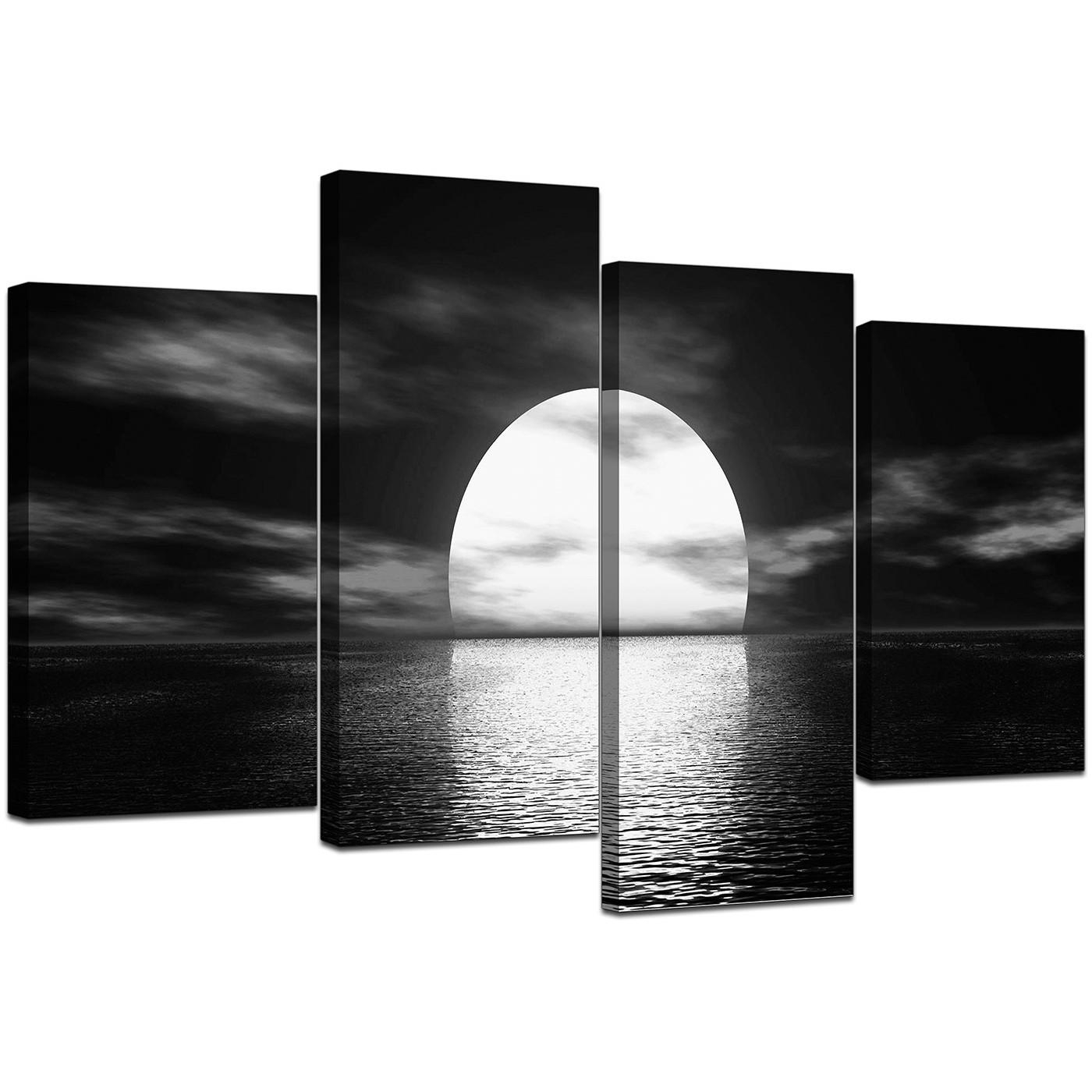 Black And White Canvas – Ocean Sunset Canvas Wall Art Within Large Black And White Wall Art (View 8 of 20)