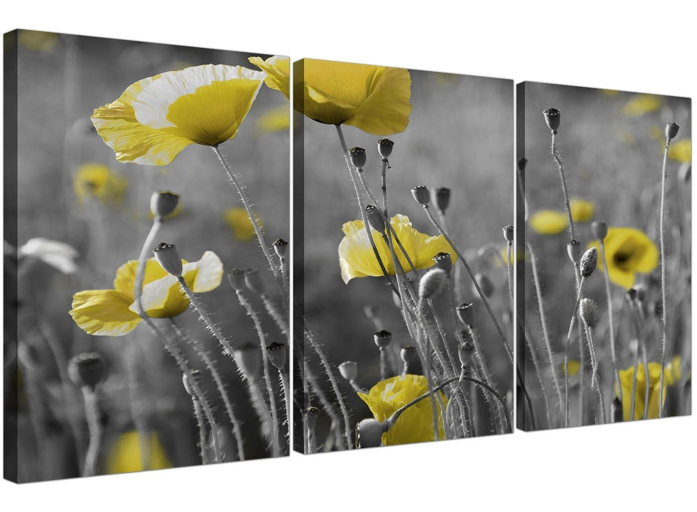 Black And White Canvas With Grey And Yellow Poppies Wall Art Intended For Yellow And Grey Wall Art (Image 5 of 20)