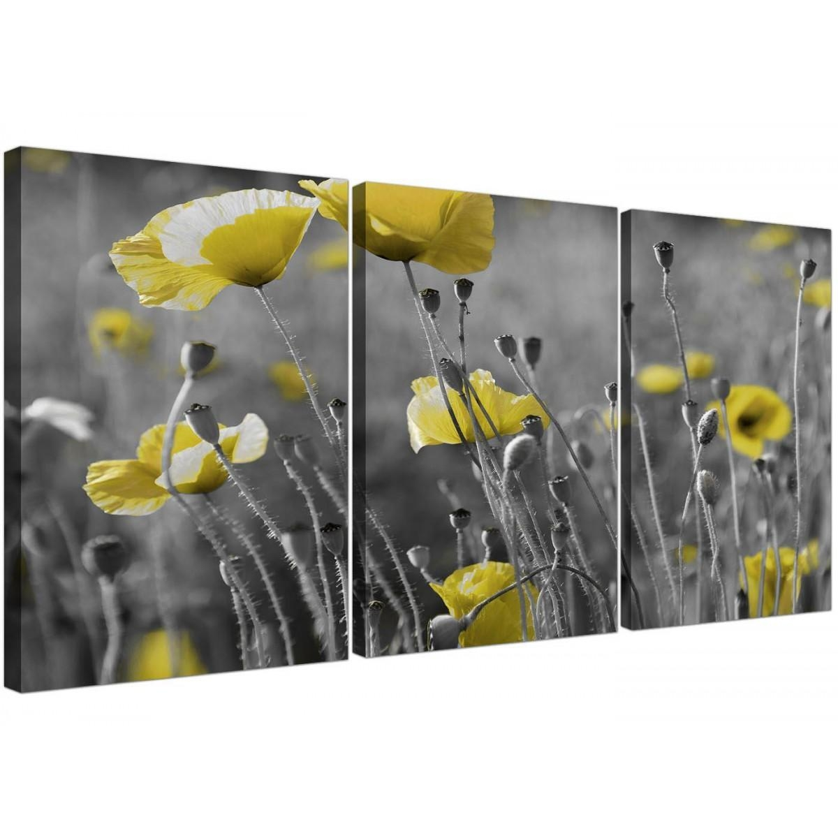 Black And White Canvas With Grey And Yellow Poppies Wall Art With Yellow Grey Wall Art (Image 5 of 20)