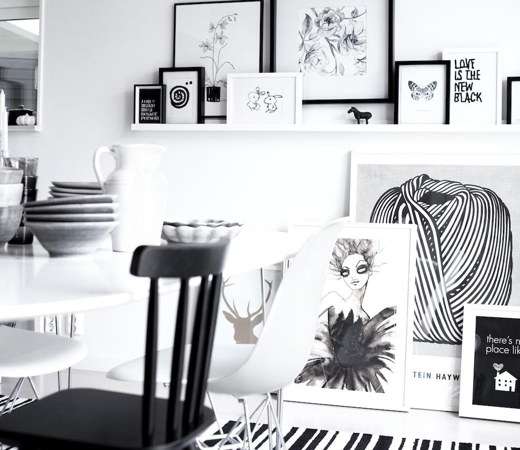 Black And White Frames On Wall (Image 7 of 20)