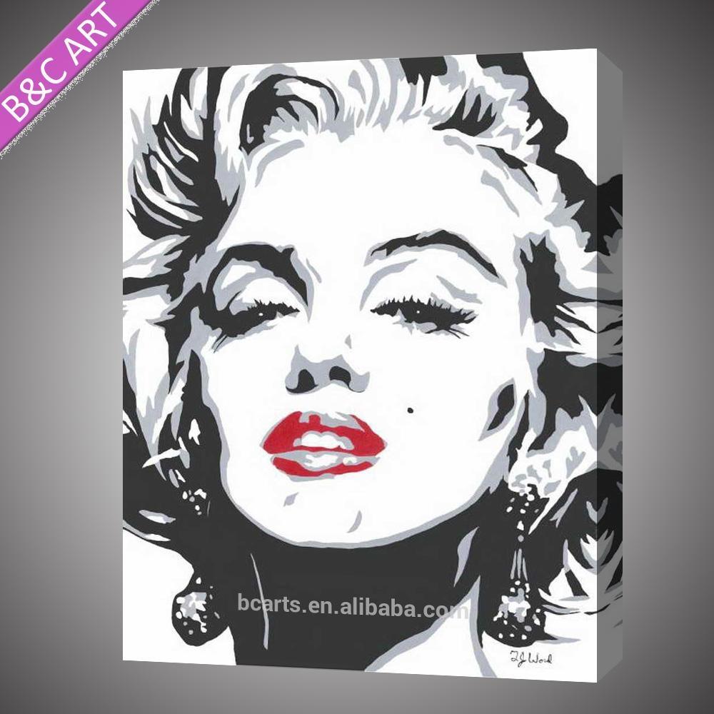 Black And White Marilyn Monroe Pop Art Paintings – Buy Marilyn In Marilyn Monroe Black And White Wall Art (View 15 of 20)