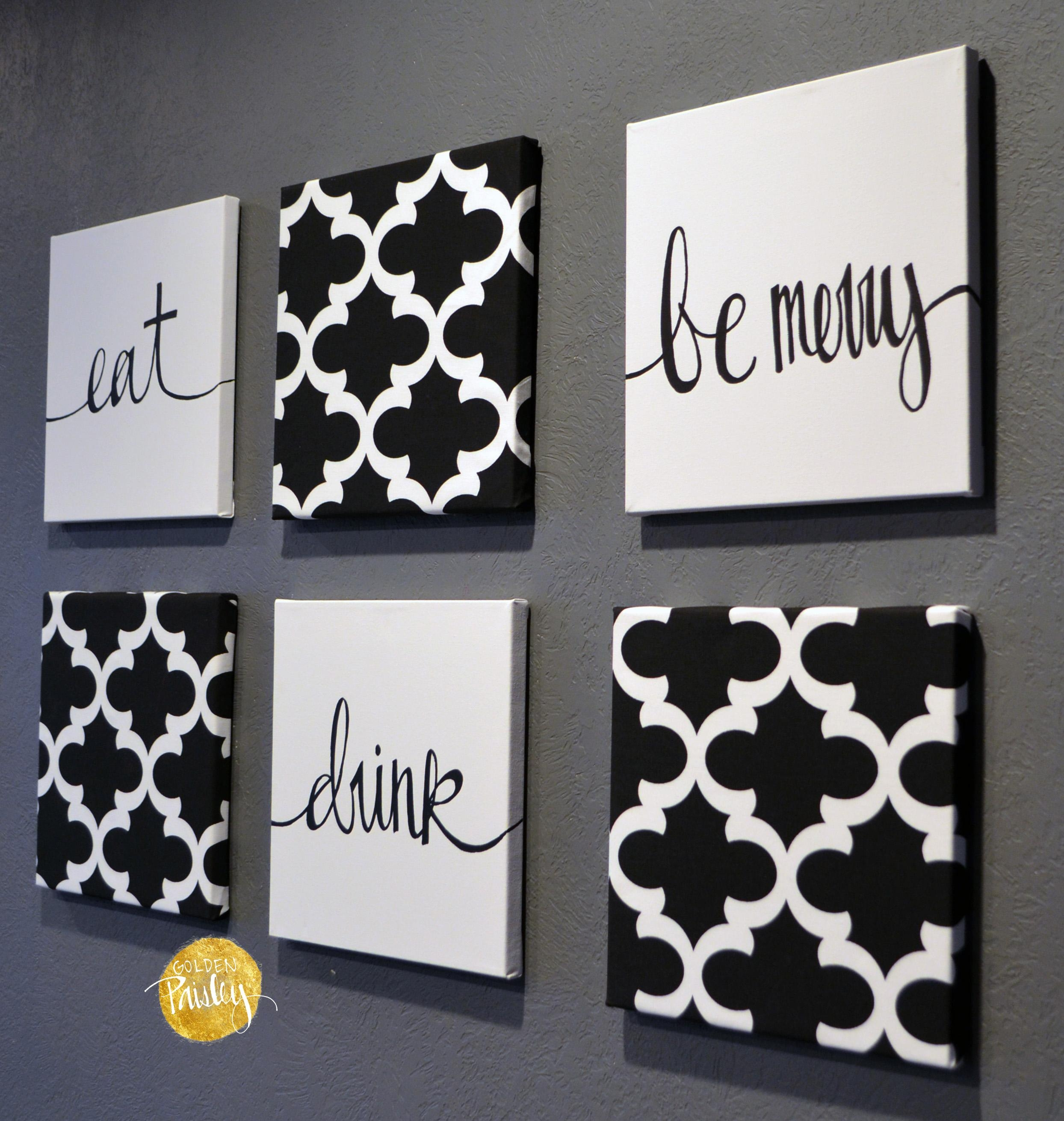 Black And White Moroccan 6 Pack Wall Art Pertaining To Black And White Wall Art Sets (Image 5 of 20)