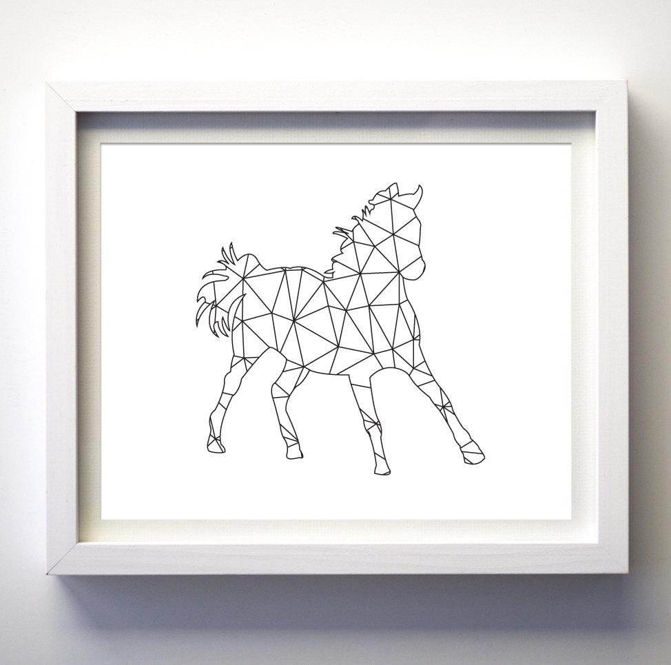 Black And White Print Wall Art Geometric Animal Wall Art Horse For Animal Wall Art (Image 6 of 20)