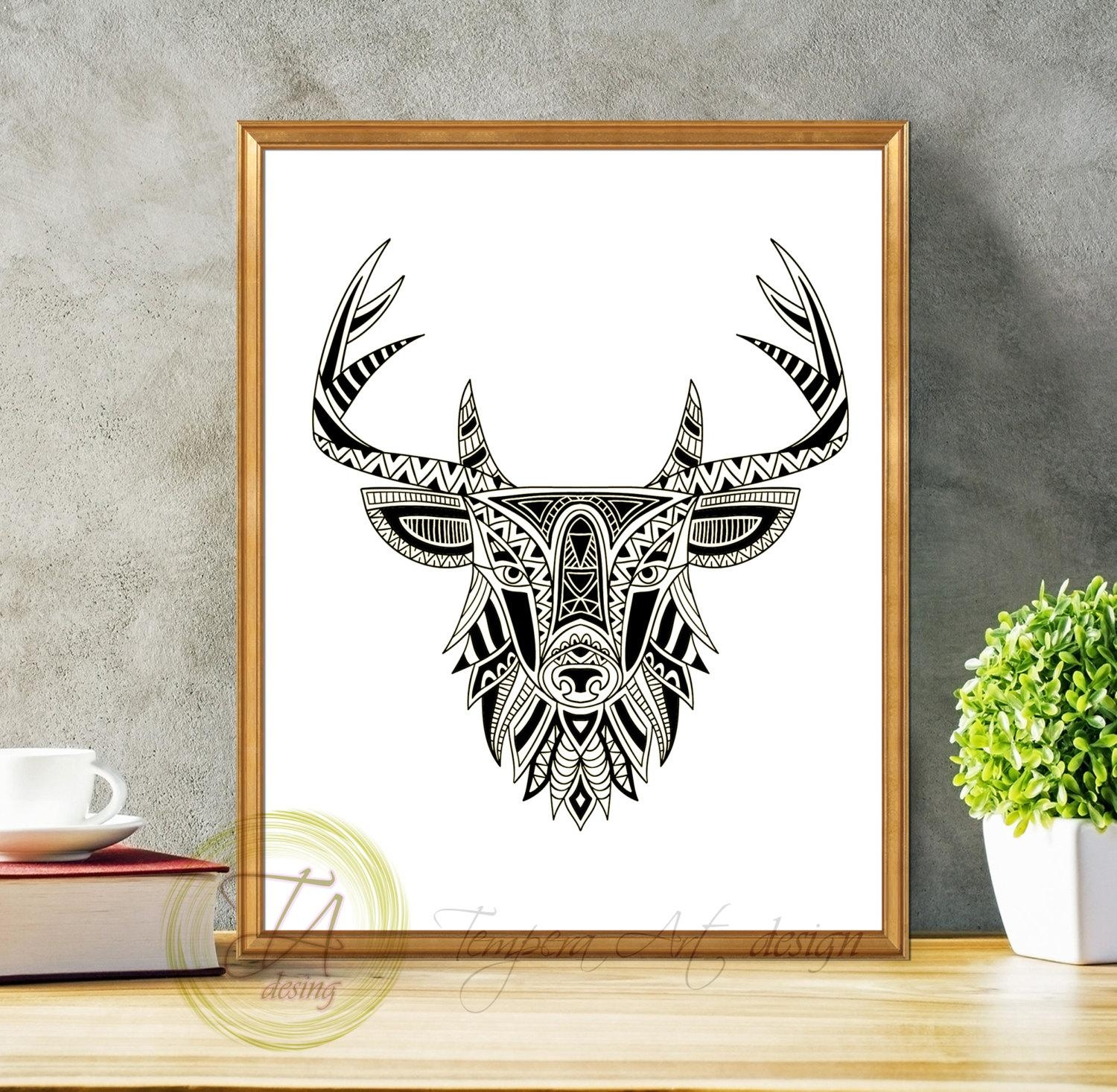 Black And White Prints Black And White Art Deer Black And With Regard To Black And White Wall Art (Image 10 of 20)