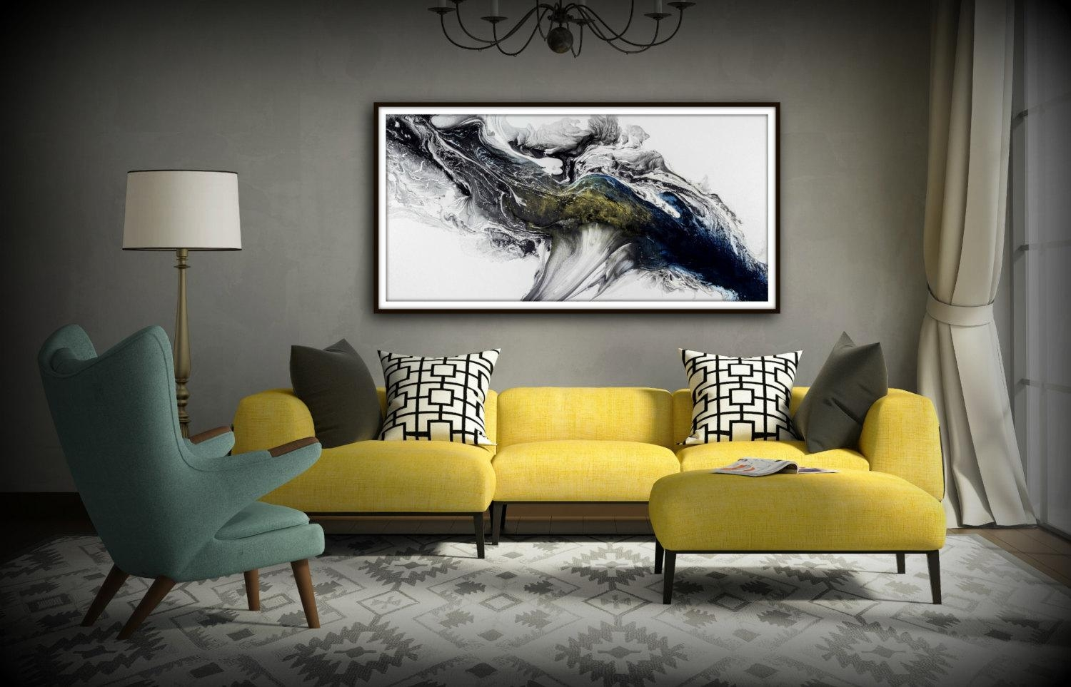 Black And White Wall Art Gift Abstract Painting Print Canvas With Large Yellow Wall Art (Image 4 of 20)