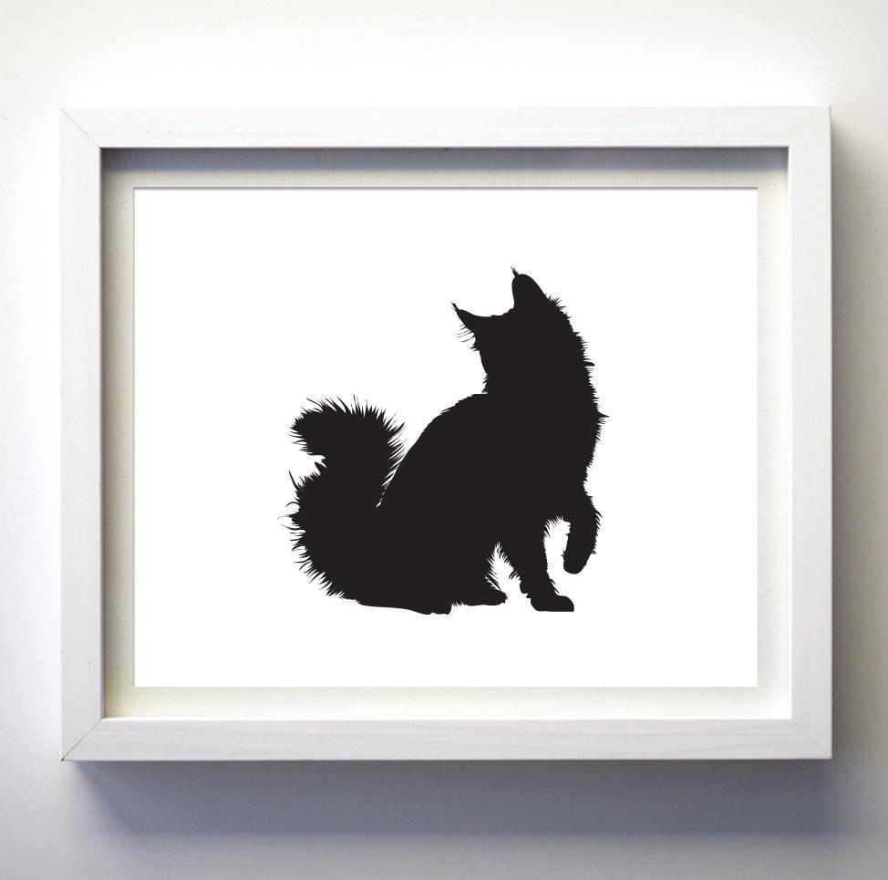 Black Cat Art Print Modern Black And White Animal Wall Art Cat Regarding Animal Wall Art (Image 7 of 20)