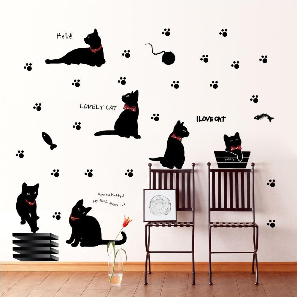 Black Cat With Bow Tie And Paw Wall Art Mural Decor Cartoon Cat With Regard To Wall Art Deco Decals (Image 2 of 20)