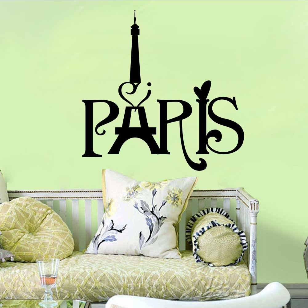 Black English Words Paris' Tower Wall Art Mural Decor Transform In Paris Vinyl Wall Art (View 9 of 20)