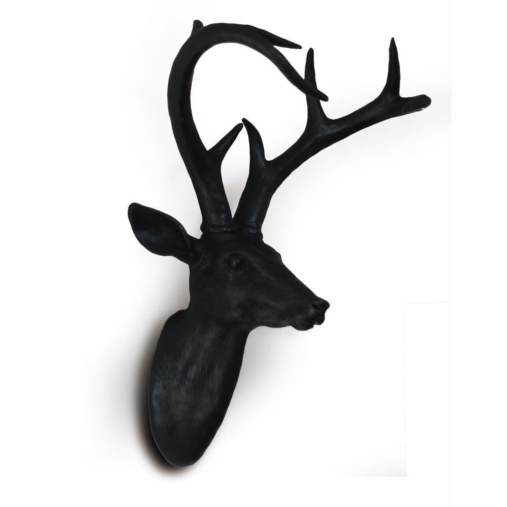 Black Wall Mounted Deer Stag Head Wall Art Hanging Decoration 62 9895E Intended For Stag Wall Art (Image 5 of 20)