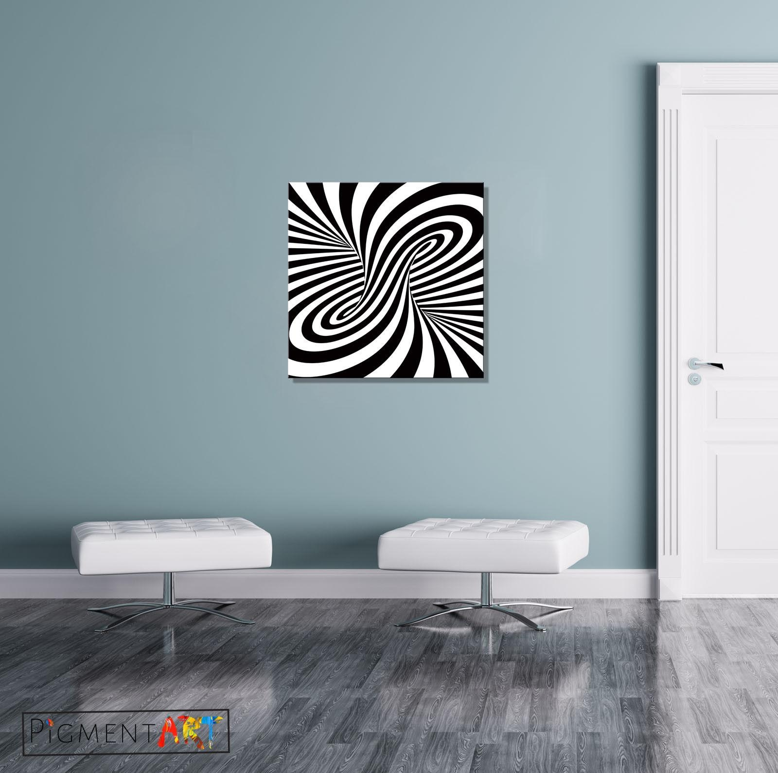 Black White Abstract Optical Illusion Stretched Canvas Wall Art Pertaining To Illusion Wall Art (View 18 of 20)