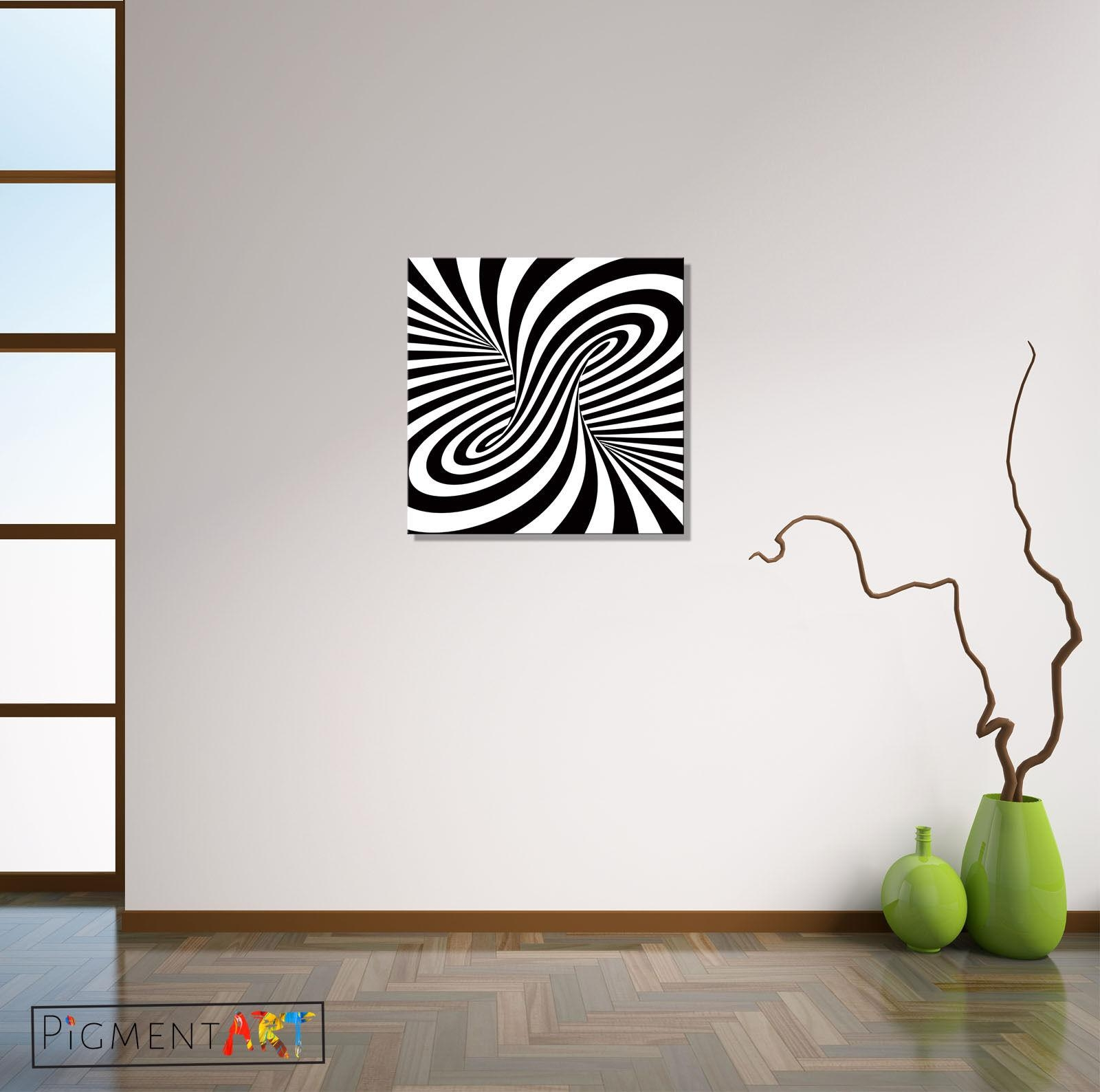 Black White Abstract Optical Illusion Stretched Canvas Wall Art Throughout Optical Illusion Wall Art (Image 7 of 20)