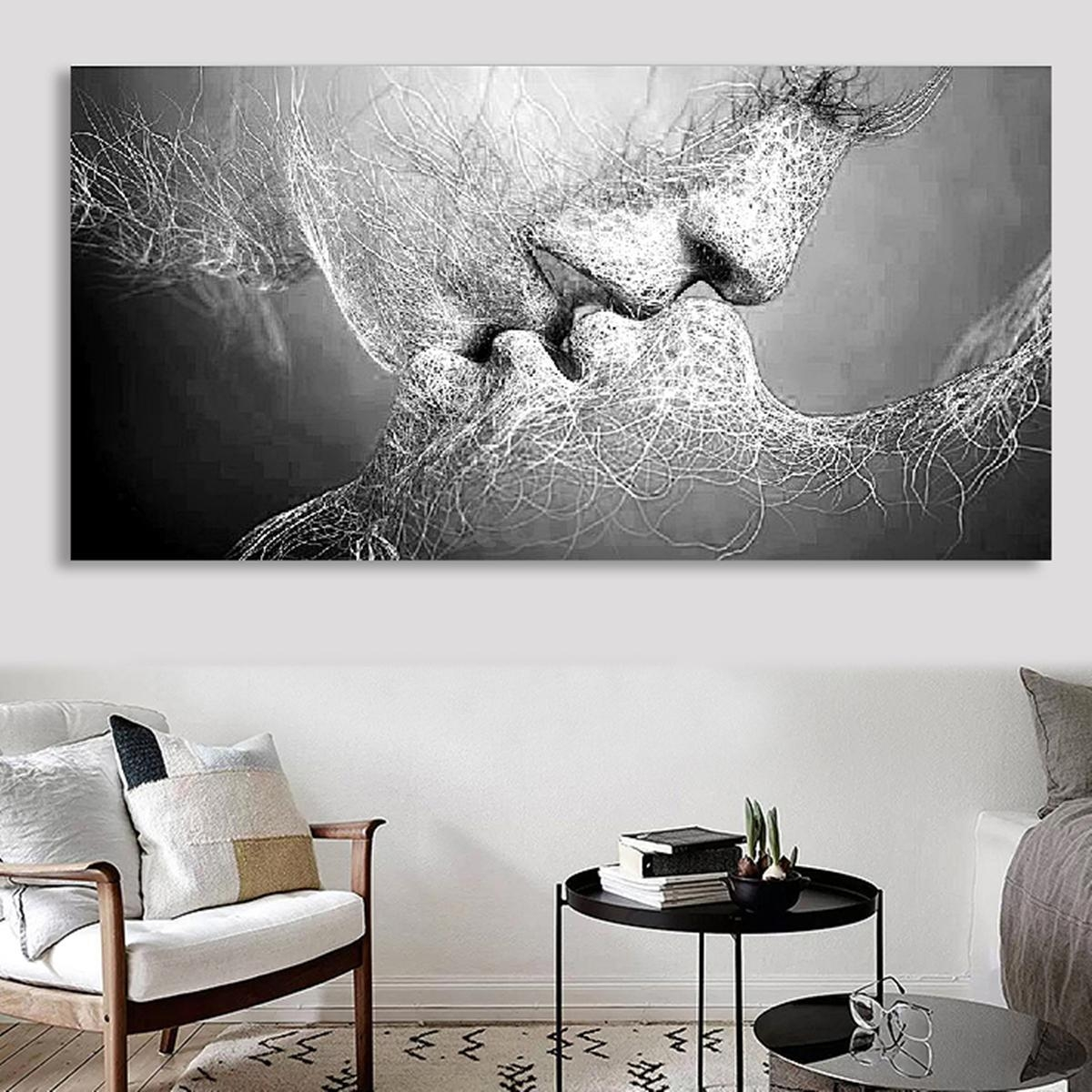 Black & White Love Kiss Abstract Art On Canvas Painting Wall Art Regarding Black Love Wall Art (Image 1 of 20)