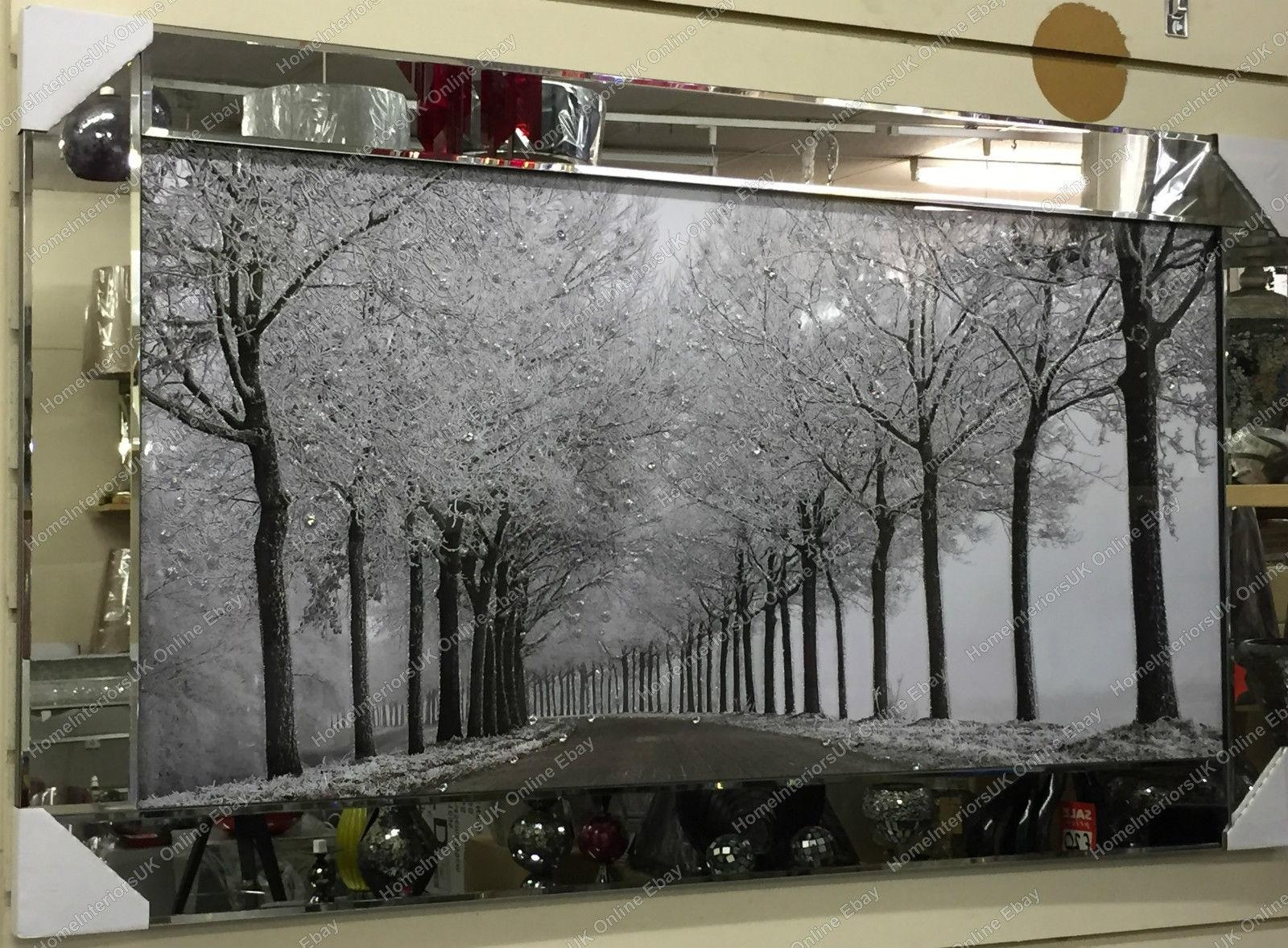 Black & White Picture Of The Woods With Crystals, Liquid Art Regarding Mirrored Frame Wall Art (Image 11 of 20)