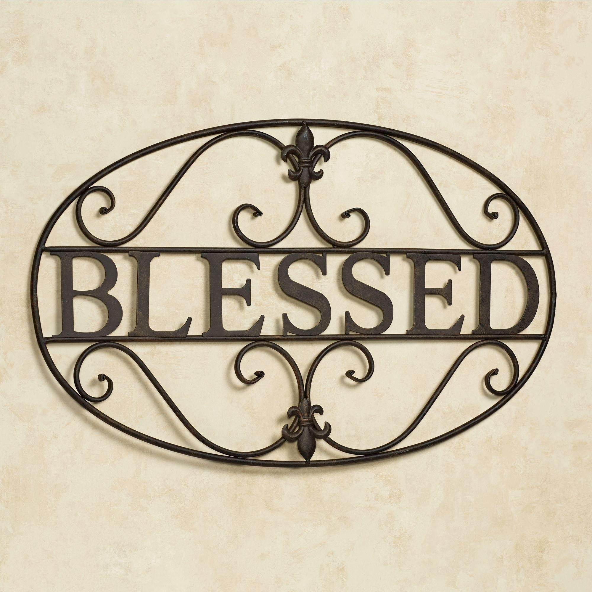 Blessed Fleur De Lis Metal Wall Art With Fleur De Lis Metal Wall Art (Image 1 of 20)