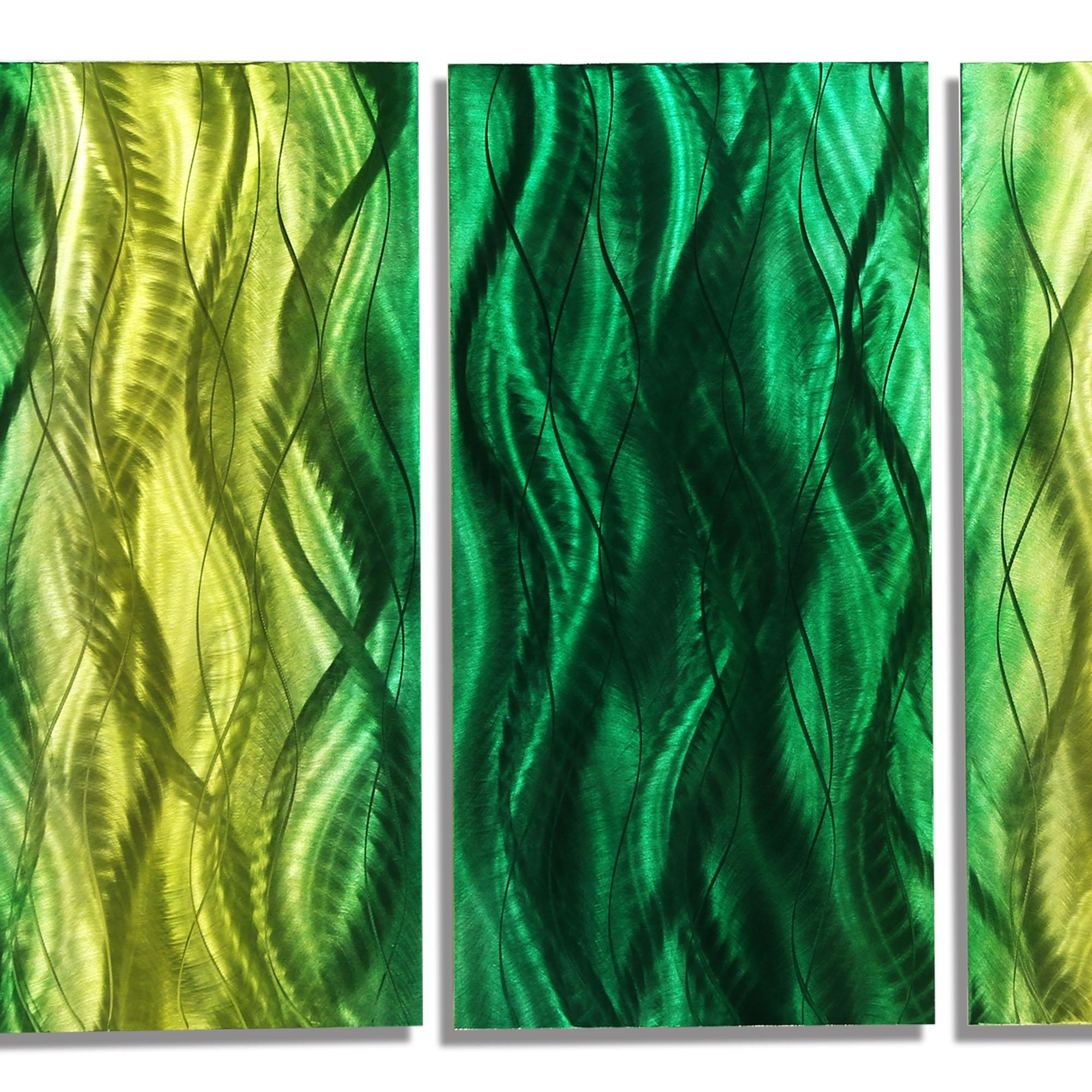 Bliss – Fusions Of Green Contemporary Multi Panel Metal Wall Art Pertaining To Yellow And Green Wall Art (Image 10 of 20)