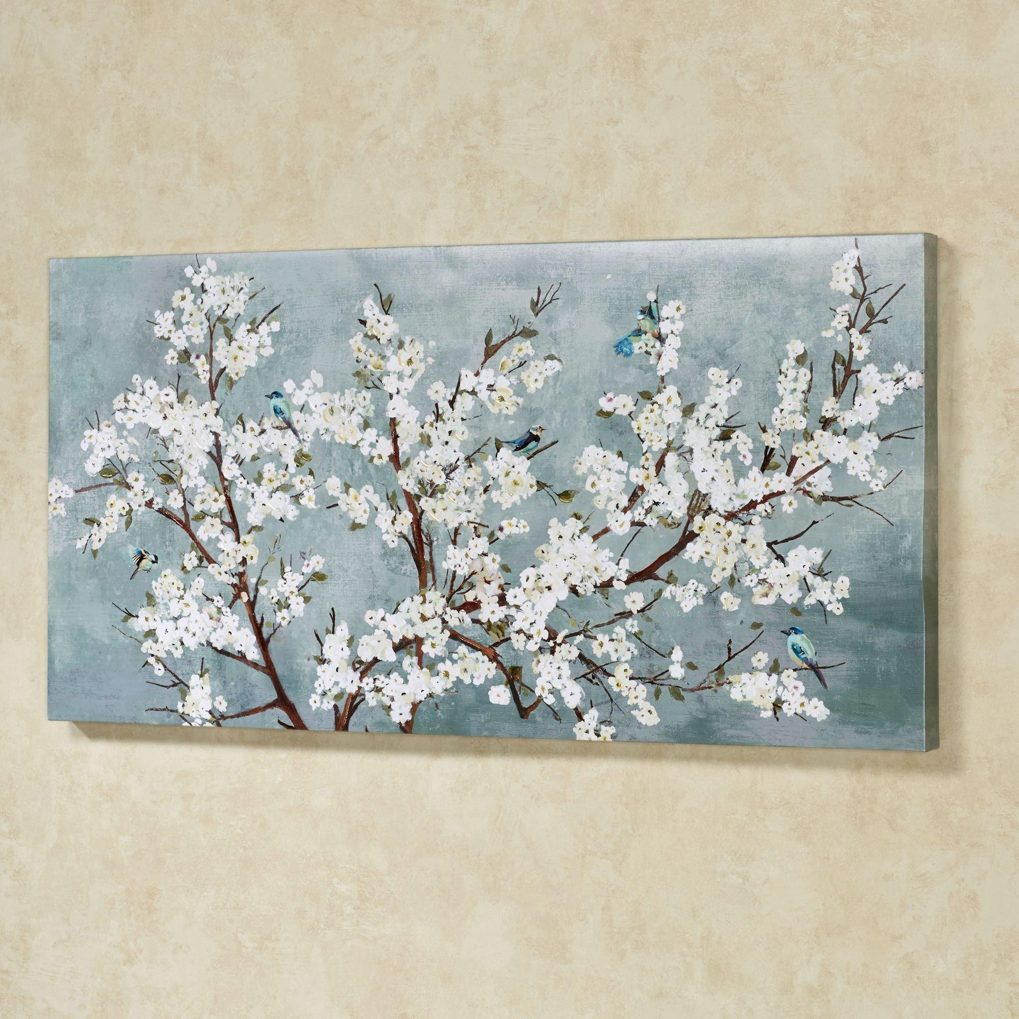 Blissful Branches Floral Canvas Wall Art Throughout Blue And White Wall Art (Image 3 of 20)