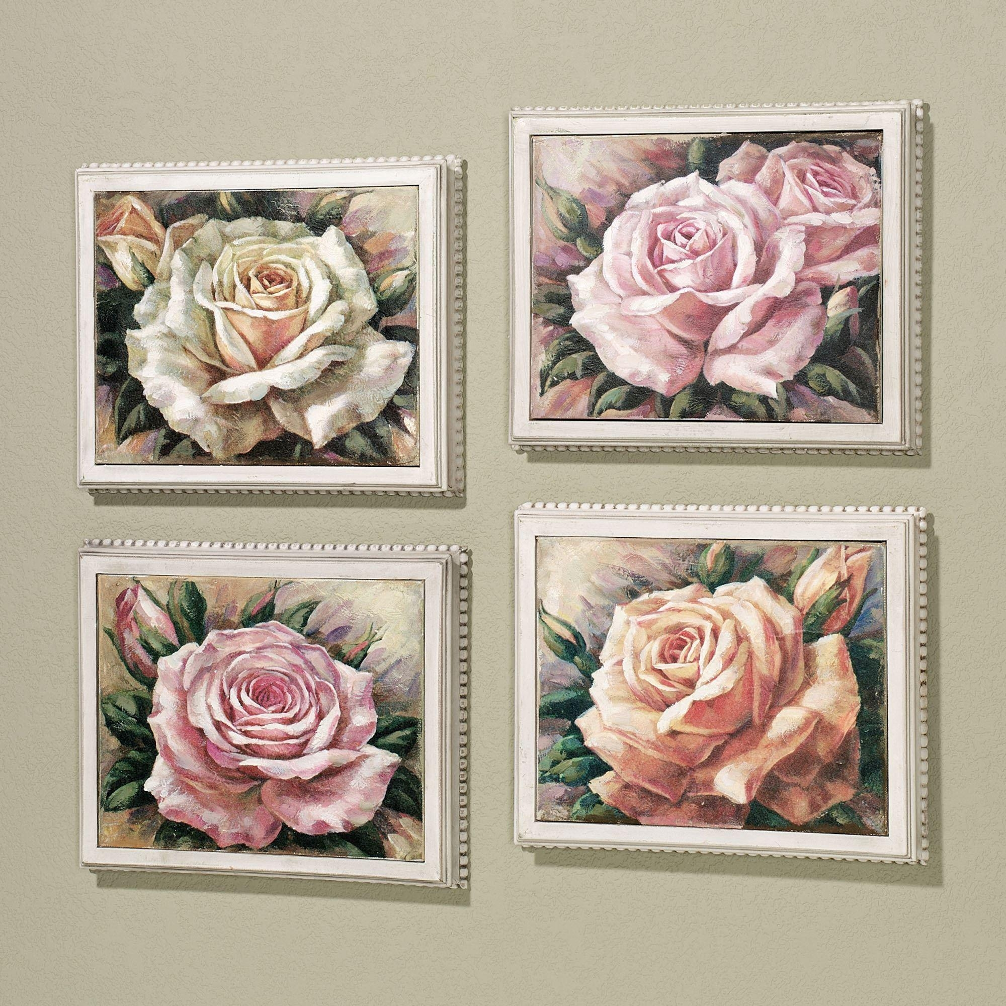Blooming Roses Framed Canvas Wall Art Set In Rose Canvas Wall Art (Image 6 of 20)