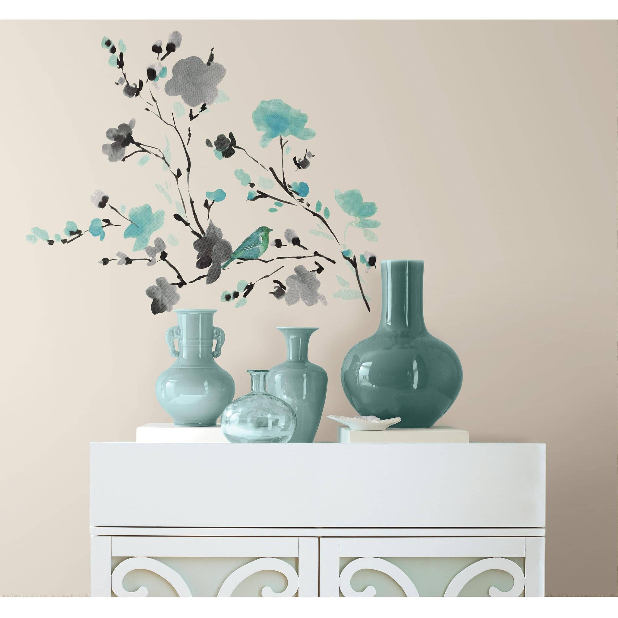 Blossom Watercolor Bird Branch Peel And Stick Wall Decals Regarding Walmart Wall Stickers (Image 2 of 20)