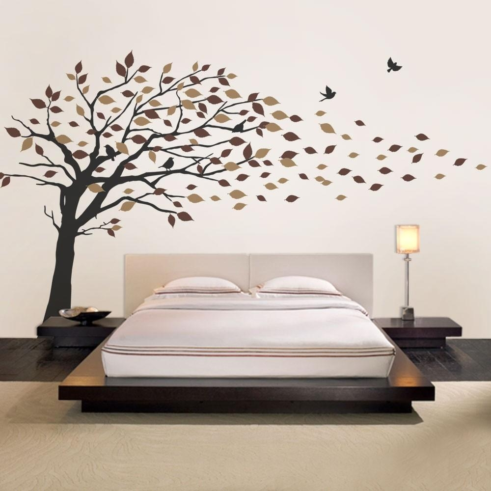 Blowing Leaves Tree Decal Regarding Vinyl Wall Art Tree (Image 4 of 20)