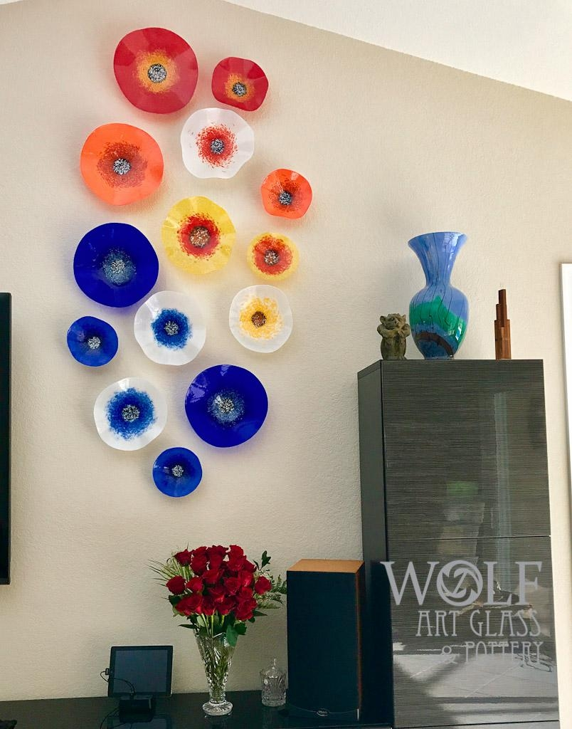 Blown Glass Wall Art, Glass Ornaments, And Blown Recycled Bottle For Recycled Wall Art (Image 2 of 20)