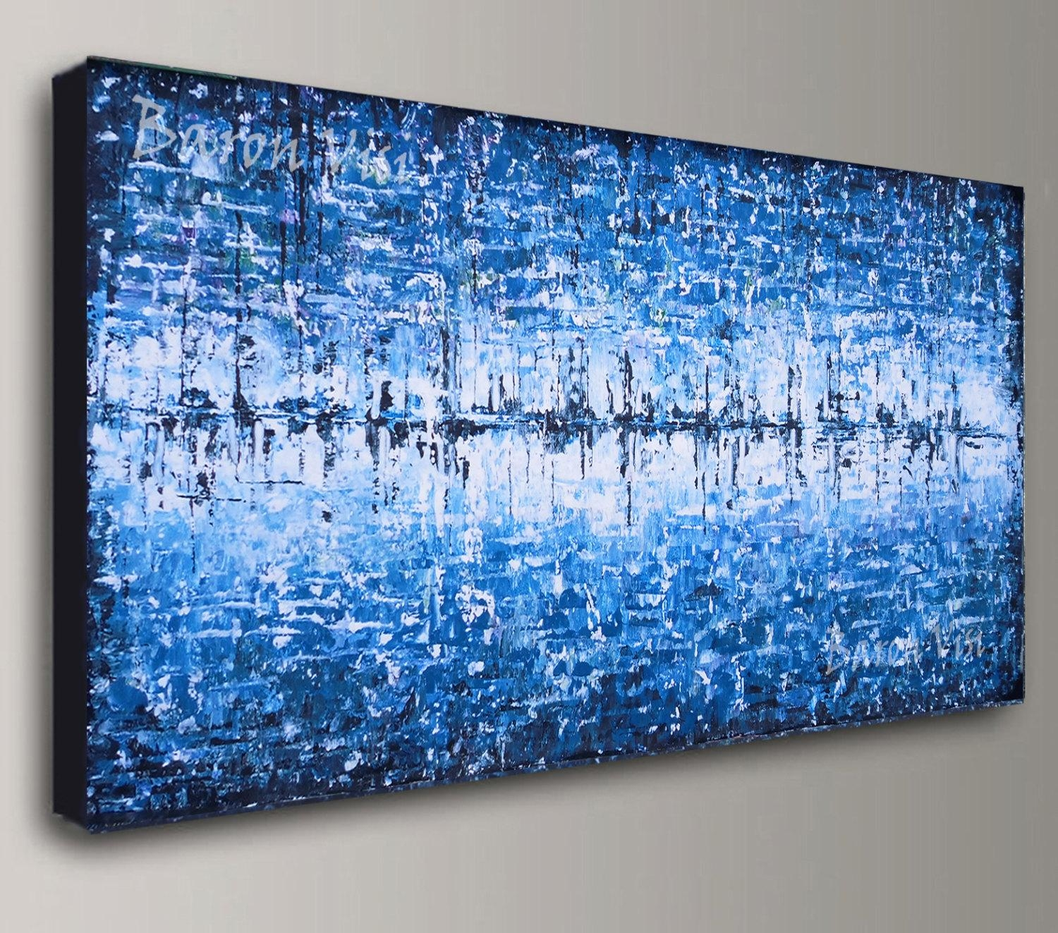 Blue Abstract Painting Acrylic Painting Art Painting White For Blue And White Wall Art (Image 4 of 20)