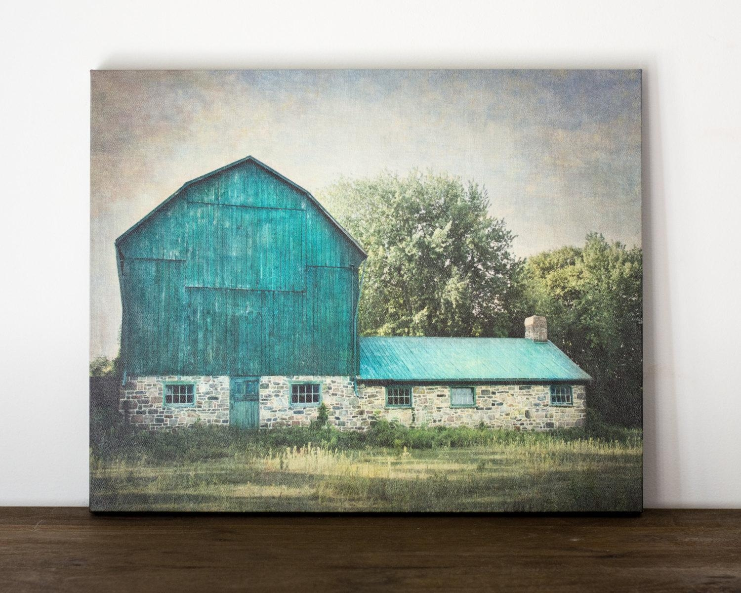 Blue Barn Canvas Art Rustic Wall Decor Farm Photography Pertaining To Country Canvas Wall Art (View 3 of 20)